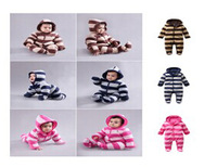 Wholesale New Winter Baby Footies Brand Warm Cotton-Padding Infants One-pieces Cloth Comfortable Jumpsuit 6sets/lot