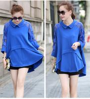 free shipping ! female casual swallowtail shirt girl's peter pan collar blouse 2014 women's spring oversize clothing