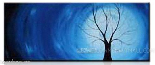 Handmade oil painting knife painting -Moonlight Tree (no framed)(China (Mainland))