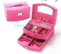 New 2014 women's princess fashion flannelet wool double layer jewelry box fan-shaped lock jewelry box Hot sell Free Shipping