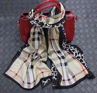High Quality  2014   Silk georgette scarf  Lucky clover scarf  Euro Fashion Classic Brand Women Scarf 180*70CM (B)