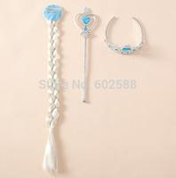 Free shipping Frozen Crown  Frozen Tiara Hair Accessories Crown + Wig +Magic Wand frozen hair accessories cosplay mk