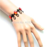 Punk Fashion Style Lace w/ Red Fake Crystal Bracelet 6pcs/lot Handmade Jewelry - Free Shipping