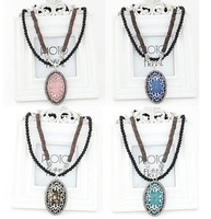 New 2014 Fashion Oval Imitated Gemstone Long Pendants Necklaces Beads Chain Statement Necklace for Women Jewelry Accessories