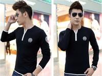 Free shipping 2014 Autumn Winter New Arrival Korean Style Long Sleeve V-collar Men's Slim T-shirt!