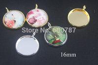 50pcs/lots, Silver Earring Recessed Mini Pendants / Charm Drops - Blank Bezel - great for charms