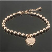 Gorgeous 100% 316L Titanium Steel Brand heart chain european charm women i promise bijoux women bracelet & bangle BR373