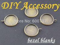 50pcs/lots, bronze Earring Recessed Mini Pendants / Charm Drops - Blank Bezel - great for charms