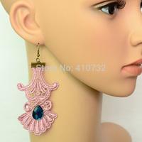Fashion Lace w/ Fake Crystal Drop Earring Punk Style Handmade Jewel - Free Shipping