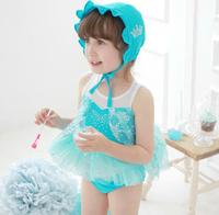 FG314  Korean children's clothing Frozen / snow Romance / Elsa Elsa princess fantasy split swimsuit swimsuit with cap