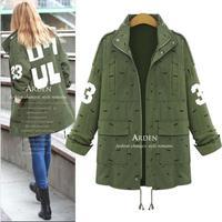 Modern Stylish Autumn Turn-down Collar Trench Coat For Women Long Sleeve Zipper Figure Print Winter Coats 8042