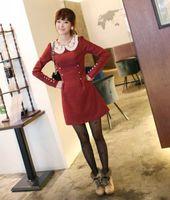 Women Cute Lace Peter Pan Collar Long Sleeve Button Waist Dress  Free Shipping f6040
