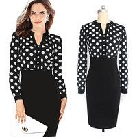 Spring Autumn 2014 New Women Casual Dress OL Slim Long Sleeve Elegant  Vintage Polka Dot Print Dresses Work Wear Office Dress