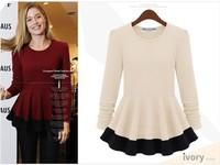 women autumn winter tops tees t shirt 2014 long sleeve cotton Knitting vintage color block slim waist t-shirt fashion sweatshirt