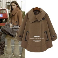 European Style Long Sleeve Loose Covered Button Women's Coats 2014 Turn-down Collar Pockets Spliced Winter Coat 8056