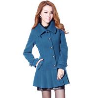 2014 Hot Selling Turn-down Collar Casual Women's Coats Elegant Ruffles Slim Single Breasted Winter Coat Female 6177