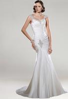 P14W105  Ruched Beading Soft Satin&Satin Mermaid Court  Train 2015 Gorgeous Luxury Unique Brilliant Bridal Wedding Dress