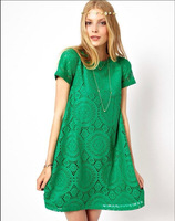 2014 New Fashion Women Dress European American CBRL ladies Short Sleeve O-Neck Black Red White Green Casual Sexy Lace Dress