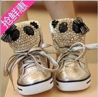 free shipping ! Korea girl's princess boots crystal panda children's shoes Martin boots