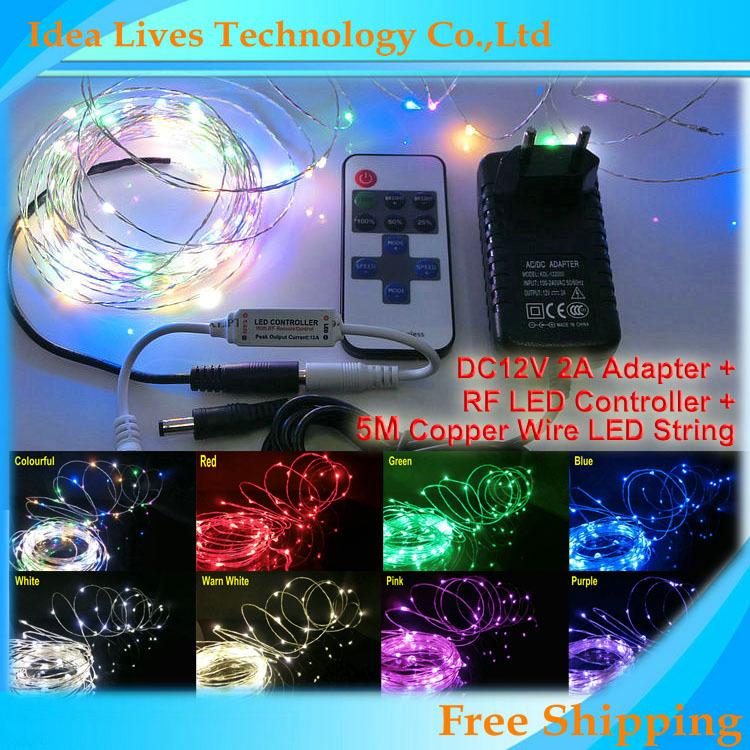 5m/set DC12V waterproof 5m 50leds Copper Wire LED String lights +RF LED Controller+DC12V 2A Adapter(China (Mainland))