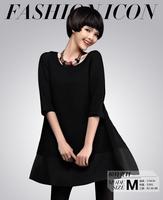 Good quality 2014 new autumn Novelty Women half Sleeve Casual straight type chiffon Dress Loose plus size Dress clothing