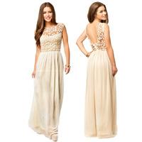 Women's Maxi Dress Party Lace Dresses Ball Maxiskit Solid Backless Crochet Chiffon Dress Elegant Sleeveless Club Cele 2014
