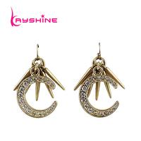 Crescent Type Drop Earrings For Women Gold Plated Punk Created Rhinestone Earrings Piercing