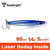 SeaKnight Brand 14g Sinker Jigging Fishing Lure 80mm Laser Luminous Lead Metal Jig head Artificial Carp Hard Bait with VMC Hooks