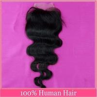 Peruvian Lace Closure 4*4 Middle Part Lace Closure Bleached Knot Peruvian Virgin Hair Body Wave Free part Human Hair Closure