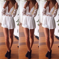 Women's Playsuit Shorts Lace Jumpsuit Sexy Club Romper Women Casual Long Sleeve Zipper White Solid Party Macacao Feminino
