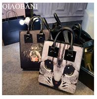 New 2014  Printing Rose cat dog Oil Painting Bags Women PU Leather Handbags Women  Bags Shoulder Bags