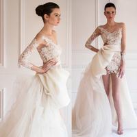 Fashion Design Hi-Lo Scoop Long Sleeve Lace Applique Tulle Long Wedding Dresses 2014