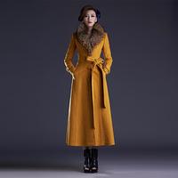 Twods 2014 new winter wool coat women plus size S-XXXL ultra long slim warm overcaot with belt fur collar woolen coat  lapel