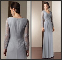 2014 Popular Exquisite A-Line Mother of the Bride Lace Dresses Lace Long Sleeve Floor Length Hot