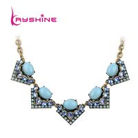 2014 Fashion Jewelry Luxury Unique Graceful Blue Created Rhinestone Choker Necklace For bijoux Women