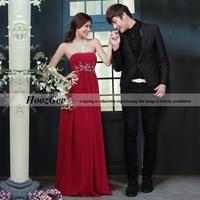 Sheath/Column Sweetheart Strapless Floor-Length Chiffon Evening Dress With Rhinestone Decoration / Plus Size HoozGee 924
