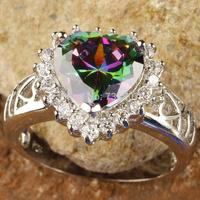 2014 Fashion  Romantic Rainbow  Topaz Heart Shape Silver Ring Size 6 7 8 9 10 11 12 Stone Jewelry Wholesale Free Shipping