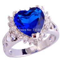 2014 Alluring  Sapphire Quartz Heart Shape Silver Ring Size 6 7 8 9 10 11 12 BlueStone Jewelry For Women Wholesale Free Shipping