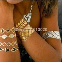 8pcs/ set Designs Stock Metallic Tattoo Flash Fashionable Non-toxic Metallic Gold and Silver Temporary Tattoo Infinity Tattoo