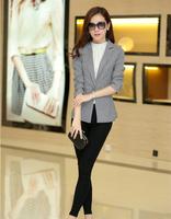 Good quality 2014 Winter autumn New Women fashion models Blazer lapel pocket casual plaid suits jacket plus size clothes