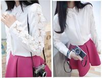 Hot sale 2014 Sexy women Lace flower Tops Women Tops Short ladies Blouses Hollow Out Lace Floral Blouse Shirt  casual Blusas