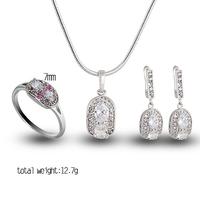 New Jewelry Set Wedding  CZ Ring Pendant Earrings African women jewelry set gold E-shine Jewelry