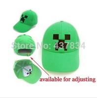 2014 new hot sale cotton strap green adjustable Minecraft creeper JJ monster cap cotton sun baseball cap