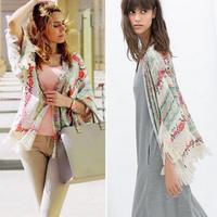 New Summer Women Floral Loose Tassels Shawl Kimono Cardigan Coat Jacket Nice  # NS116