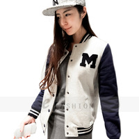 Free shipping! 2014 Hot Sale All-match Fashion Sweatshirt Female Preppy Style Spring and Autumn Baseball Uniform Coat 185-0004