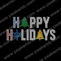50pcs/Lot Free Shipping Custom Christmas Tree Design Wholesale Rhinestone Transfer Iron On For Xmas Decoration