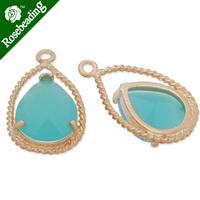 11.5x20mm matt gold plated framed glass,Faceted glass,pacific opal,connectors,gemstone bezel,Sold 5pcs/lot-C4155