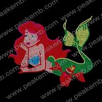 30pcs/Lot Free Shipping Mermaid Ariel Iron On Rhinestone Heat Transfer Wholesale Hot Fix Appliques For Shirts