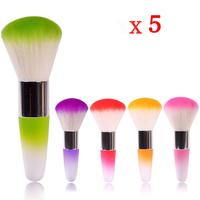 5 Pcs/lot Short Handle Face Care Buffer Foundation Powder Facial Cosmetic Blusher Brusher Makeup Cosmetic Soft Brush 5 color