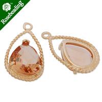 11.5x20mm matt gold plated framed glass,Faceted glass,champagne,connectors,gemstone bezel,Sold 5pcs/lot-C4156